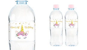 A Pretty Unicorn Personalised Water Bottle Labels
