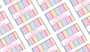 Pastel Stripe Personalised Birthday Mini Chocolates