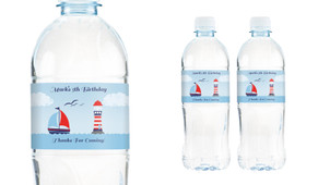 Boats At Sea Personalised Water Bottle Labels