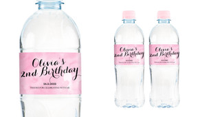 A Splash Of Watercolour Pink Personalised Water Bottle Labels