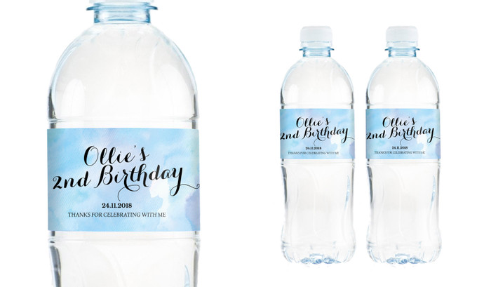 A Splash Of Watercolour Blue Personalised Water Bottle Labels