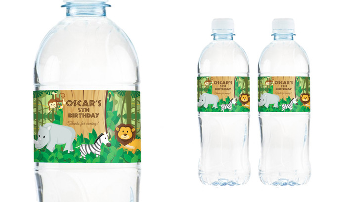Jungle Animals Personalised Water Bottle Labels