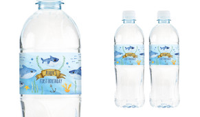 Baby Shark And Family Personalised Water Bottle Labels