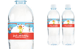 Circus Animals Personalised Water Bottle Labels