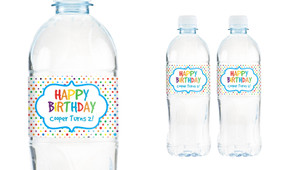 Happy Dots Personalised Water Bottle Labels