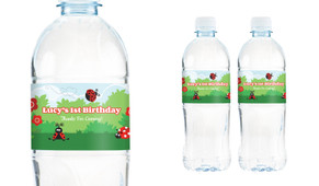 Lady Bug Personalised Water Bottle Labels