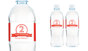 Numbers In Red Personalised Water Bottle Labels