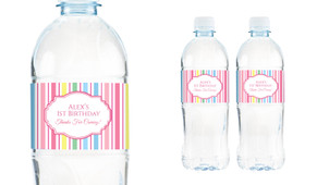 Pastel Stripe Personalised Water Bottle Labels