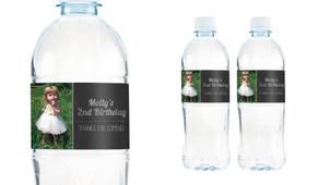 Chalkboard Photo Personalised Water Bottle Labels