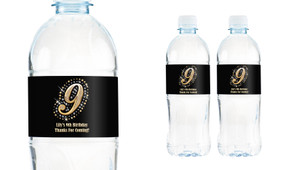 Gold Number Personalised Water Bottle Labels