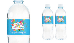 Happy Confetti Personalised Water Bottle Labels