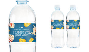 Movie Night Personalised Water Bottle Labels