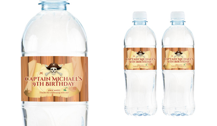 Pirate Treasure Map Personalised Water Bottle Labels