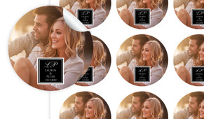 A Photo With Black Square Personalised 65mm Labels