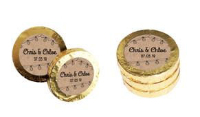 Bunting On Kraft Custom Chocolate Coins