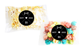 Date Circle In Black Square Popcorn Bag With Personalisation