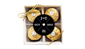 Date Circle In Black Wedding Personalised Ferrero Rocher Gift Box