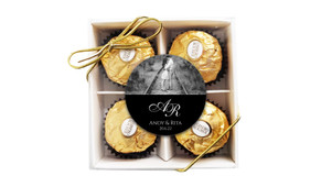Add A Photo On Black Custom Wedding Chocolate Ferrero Rocher Gift Box