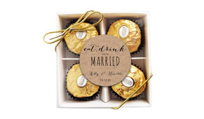 Eat, Drink & Be Married Kraft Custom Wedding Chocolate Ferrero Rocher Gift Box