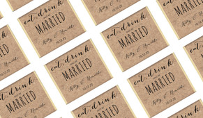 Eat, Drink And Be Married Kraft Personalised Wedding Mini Chocolates