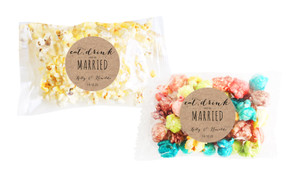 Eat, Drink And Be Married Kraft Square Popcorn Bag With Personalisation