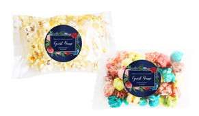 Floral Frame On Navy Square Popcorn Bag With Personalisation