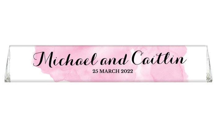 A Splash Of Watercolour Pink Toblerone Wedding Chocolates