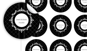 Baroque Wedding Personalised 65mm Labels