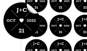 Date Circle In Black Personalised 65mm Labels