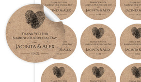 Fingerprint Heart On Kraft Personalised 65mm Labels