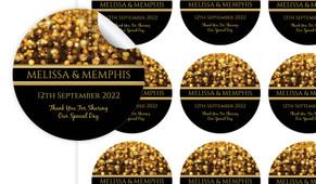Gold Bokeh Personalised 65mm Labels