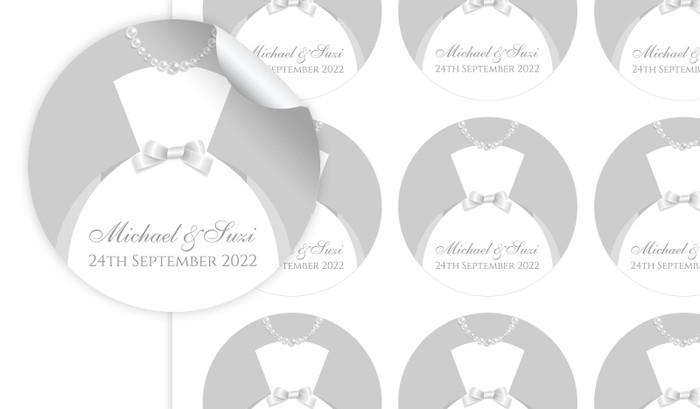 Bride And Groom Dress Personalised 65mm Labels