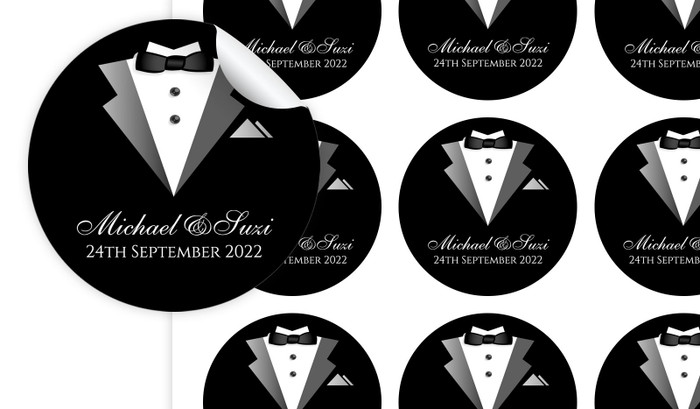 Bride And Groom Suit Personalised 65mm Labels