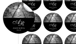 Add A Photo On Black Custom Wedding Personalised 65mm Labels