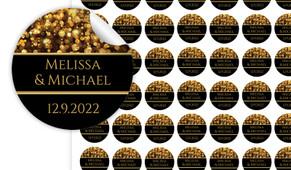 Gold Bokeh Personalised 25mm Labels
