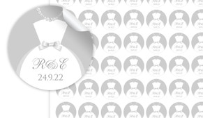 Bride And Groom Dress Personalised 25mm Labels