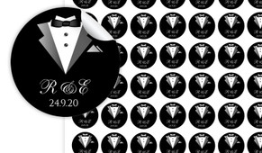Bride And Groom Suit Personalised 25mm Labels