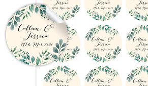 Branches On Cream Personalised 65mm Labels