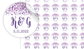 Purple Confetti Personalised 25mm Labels