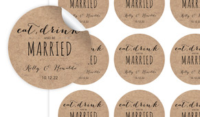 Eat, Drink & Be Married Kraft Personalised 65mm Labels