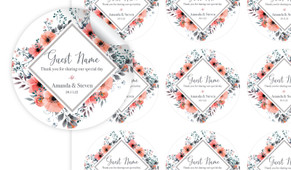 Coral Flowers Personalised 65mm Labels