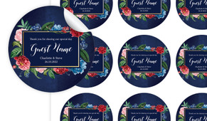 Floral Frame On Navy Personalised 65mm Labels