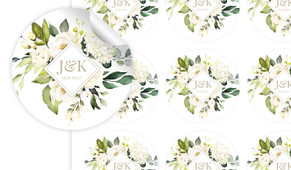 Diamond On White Roses Personalised 65mm Labels