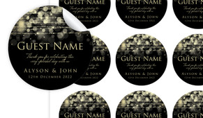 Gold Lights Personalised 65mm Labels