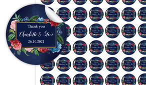 Floral Frame On Navy Personalised 25mm Labels
