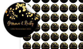 Gold Leaves Personalised 25mm Labels