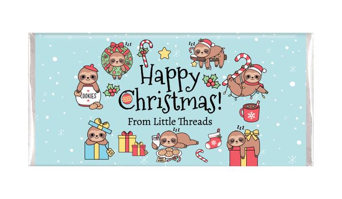Sloth Personalised Christmas Chocolate Bar