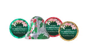 Pink On Green Personalised Christmas Chocolate Bells