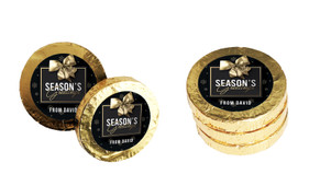 Glossy Gift Black Personalised Christmas Chocolate Coins