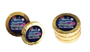 Neon Personalised Christmas Chocolate Coins
